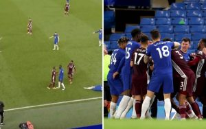 Video of Chelsea and Leicester players engaged in fight