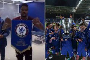Chelsea fan takes revenge on pennant-tosser Daniel Amartey after Champions League triumph